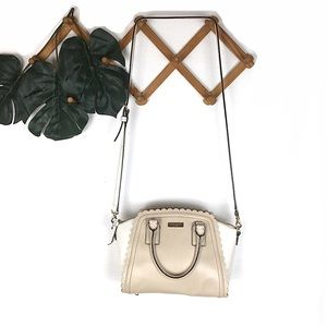 Kate Spade Leather Crossbody Scalloped Tan White